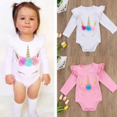 Toddler Infant Kids Baby Girls Long Sleeve Cotton Unicorn Party Birthday Festival Bodysuit Outfits Clothes
