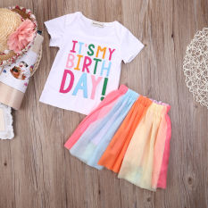 Buy Toddler Kids Baby Girls Outfits Clothes T Shirt Tops Skirt 2Pcs Set Singapore
