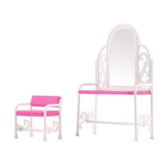 Ubest Dressing TableChair Accessories Set For Barbies Dolls Bedroom Furniture Pink