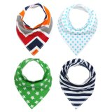 Sale Unisex 4 Pcs Cotton Baby Saliva Towel Triangle Bandana Dribble Bibs Oem Cheap