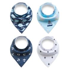Low Cost Unisex 4 Pcs Cotton Triangle Baby Bibs Feeding Saliva Dribble Towel Intl