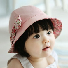 Vanker-Trendy Baby Girls Dual Side Sun Hat Cotton Bowknot Fisherman Beach Cap (pink) By Vanker.