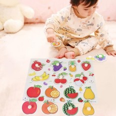 Wooden Cognitive Knob Puzzle Kids Educational Learning Toy With Hand Grip Fruit - Intl By Highfly.