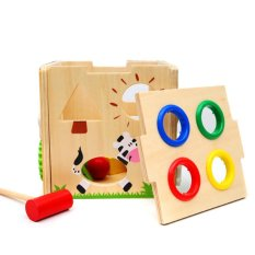 Wooden Hammer Ball Game Children Educational Hammering Toy (multicolor) - Intl By Welcomehome.