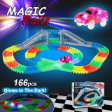 Get The Best Price For Ya Zhi Qi 868 163 166Pcs 55Mm Twisted Tracks Flexible Assembly Neon Glow In The Darkness With Bridge Crossroad Track Race Car For Kids Intl