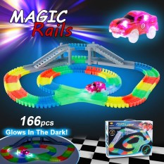 Buy Ya Zhi Qi 868 163 166Pcs 55Mm Twisted Tracks Flexible Assembly Neon Glow In The Darkness With Bridge Crossroad Track Race Car For Kids Intl Not Specified Online