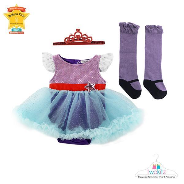 6580a06cf [Twokitz] Princess Mermaid Fluffy Tutu Romper Dress Set