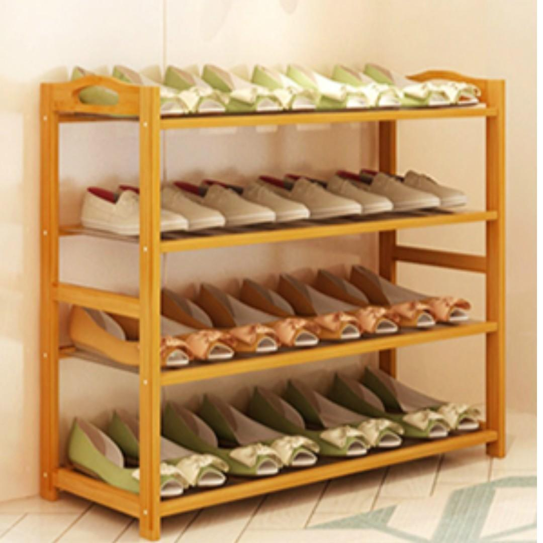 100% High Quality Smooth Finishing Bamboo 4 Tiers Shoe Rack (Water Resistant)