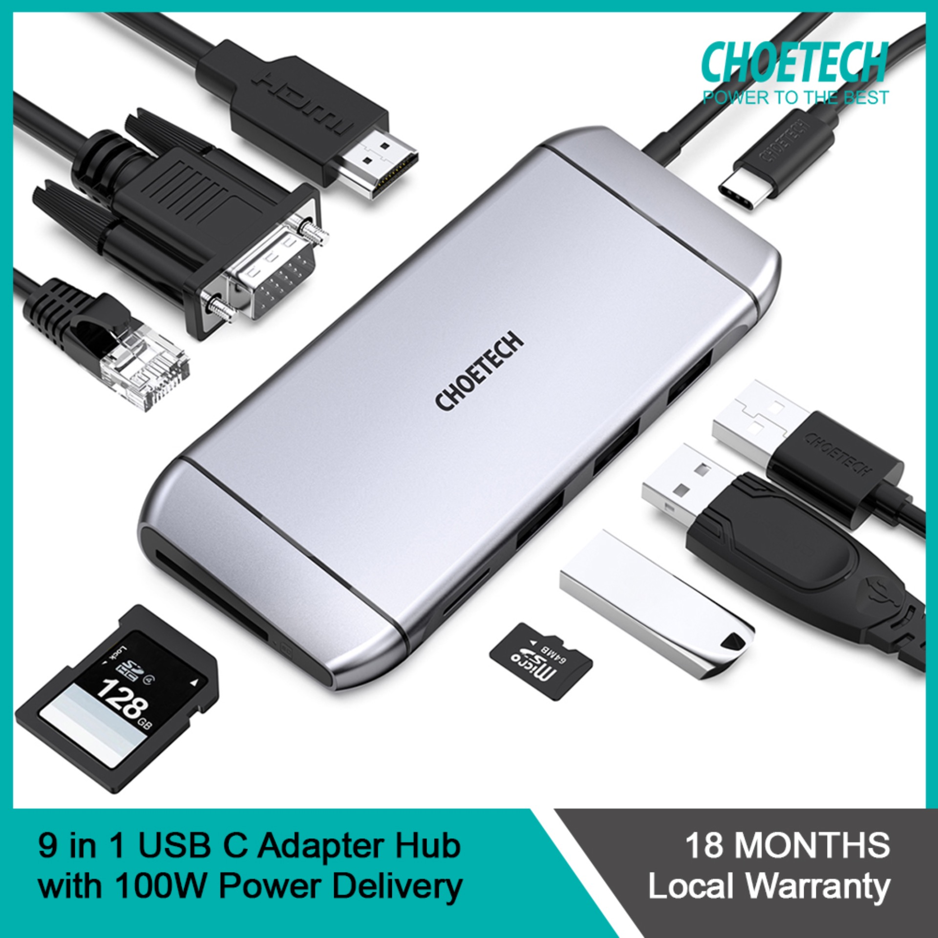 CHOETECH 9 in 1 USB C Adapter Hub with 4K HDMI, 100W PD Power, 3 USB 3.0, RJ45 Ethernet, 60HZ VGA, SD/TF Card Reader