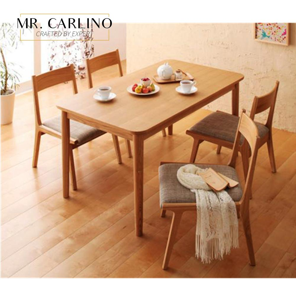 Japanese Style Kardin Round Edged Rubber Solid Wood Dining Table With 4 Chair Set