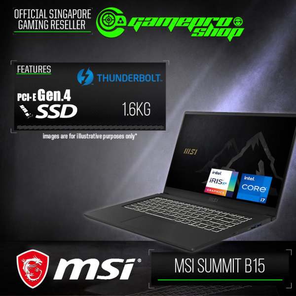 [Express Delivery] MSI Summit B15 A11M-044SG Laptop (i7-1165G7/16GB DDR4/1TB SSD/Intel Iris Xe Graphics/15.6FHD/W10P)-(2Y)