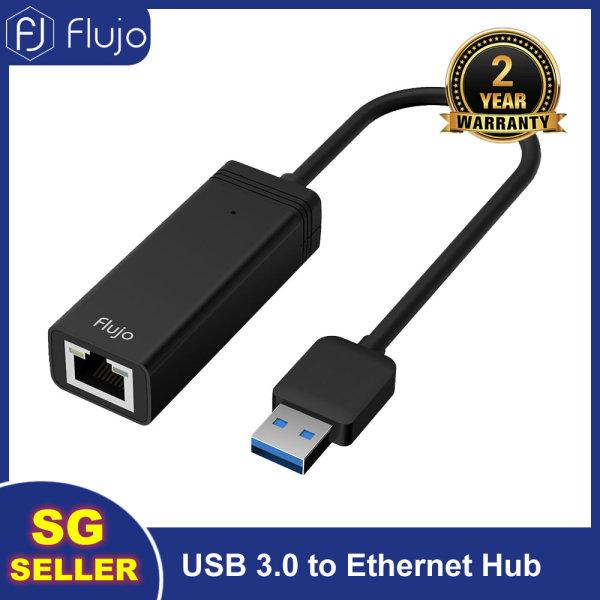 Flujo AH-7 USB Ethernet Adapter USB 3.0 2.0 Network Card to RJ45 Lan Network Hub for Macbook, Chromebook, Windows,Mac OS (Silver/Black)