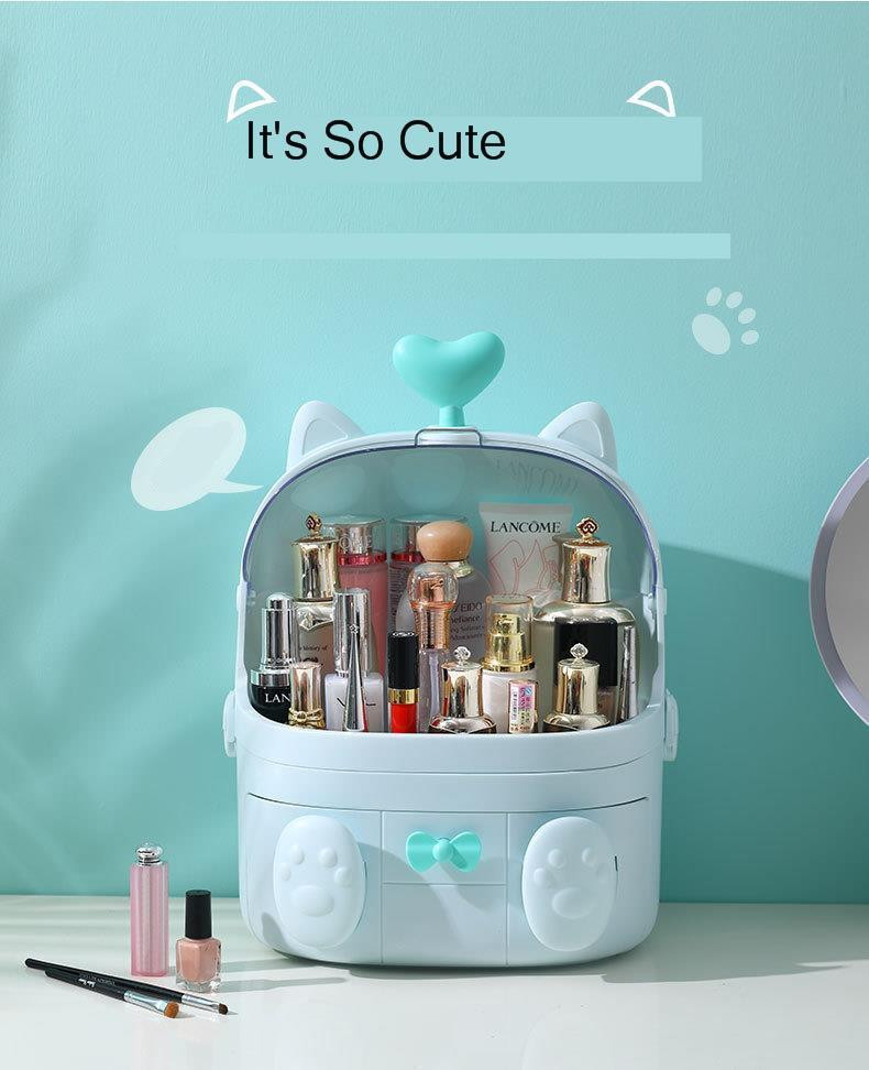 Cosmetic storage box dressing table dormitory desktop finishing rack cute cat shape dustproof waterproof pink white