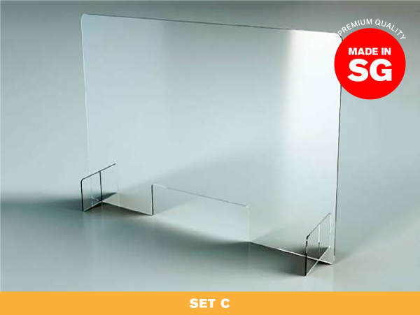 [SG READY STOCK] SET C — Acrylic Shield Table Dividers / Portable Transparent Protective Sneeze Guard / Clear Acrylic Plexiglass Partition for Counters & Desks