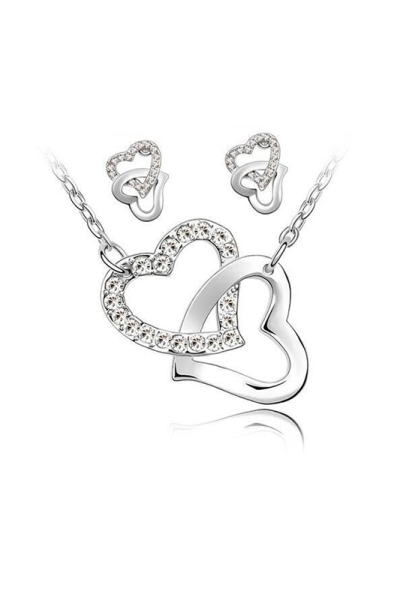 Finery necklace and earrings 2 Hearts intertwined chains alloy - White