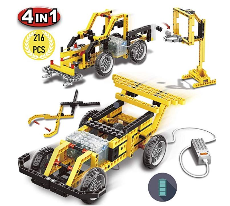 Pinspace Race Car Building Set With Electronic Motor, 4 In 1 Electric Truck Building Toy, 216 Pieces Kids Diy Engineering Kit, Street Sweeper, Gripping Pliers, Basketball Stand Building Blocks Set.