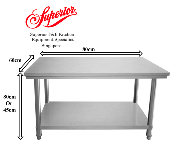[Commercial Equipment][Superior Kitchen Equipment]  2 Tier Stainless Steel Table (80cm)