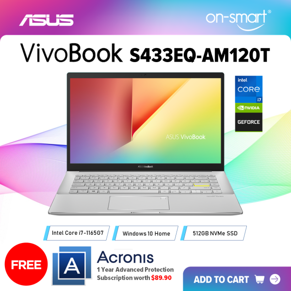 【Next Day Delivery】ASUS VivoBook S14 S433EQ-AM120T | Intel Core i7-1165G7 Processor | 16GB RAM | 512GB NVMe SSD | NVIDIA GeForce MX350 | Windows 10 Home | 2 Years International Warranty | FREE Acronis Subscription