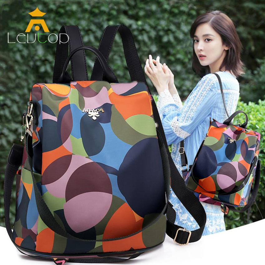 LEVTOP Woman Bags Anti-theft Backpack Shoulder Bag Oxford Cloth Travel Backpack Fashion Color Painting Cross Body Bag Sling Bag Casual Pack Waterproof School Bag for Women Lady