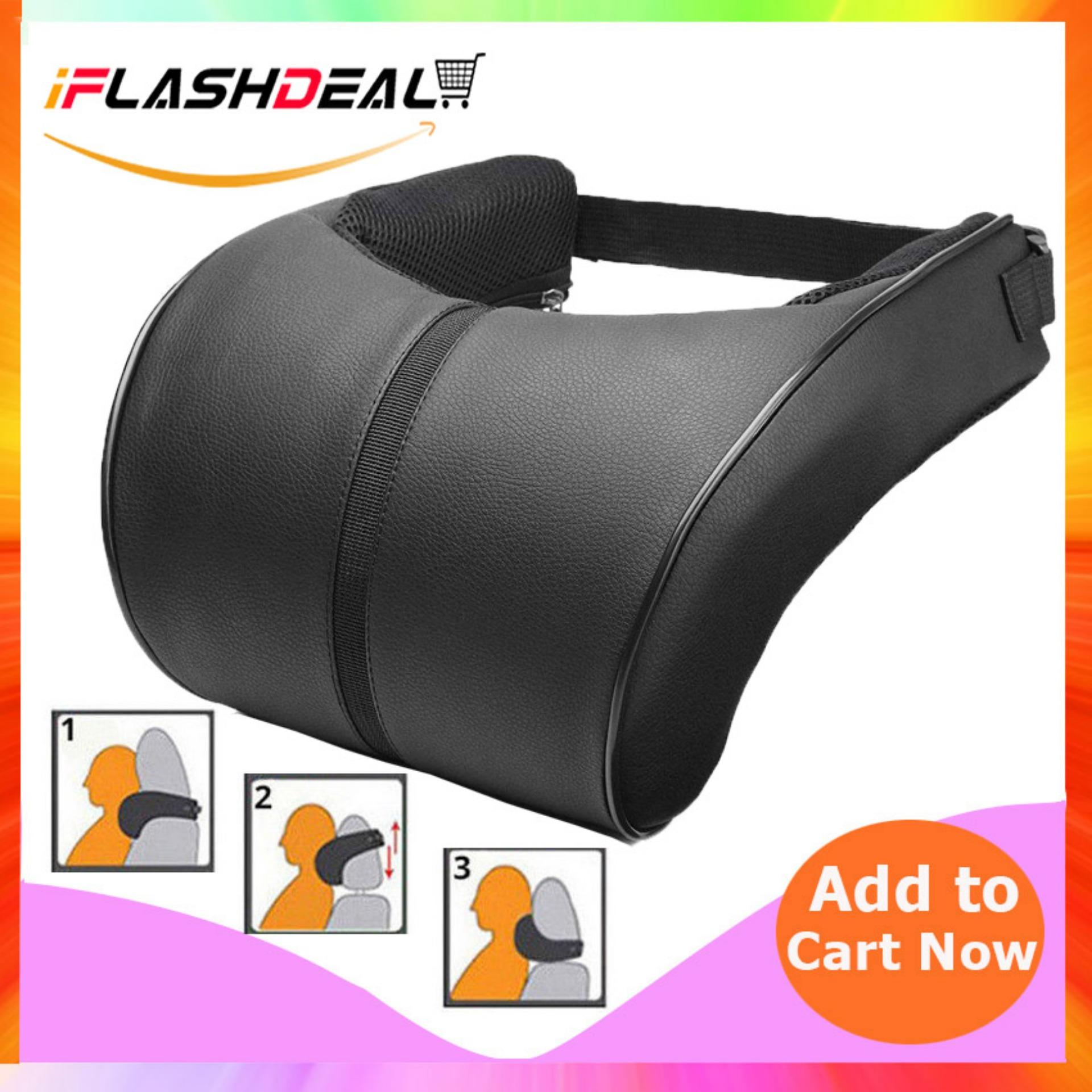 Iflashdeal Car Seat Neck Pillow Car Headrest Pillow Pu Leather Head Neck Rest Pillow Adjustable Headrest Pillow Cushion Pad By Iflashdeal.