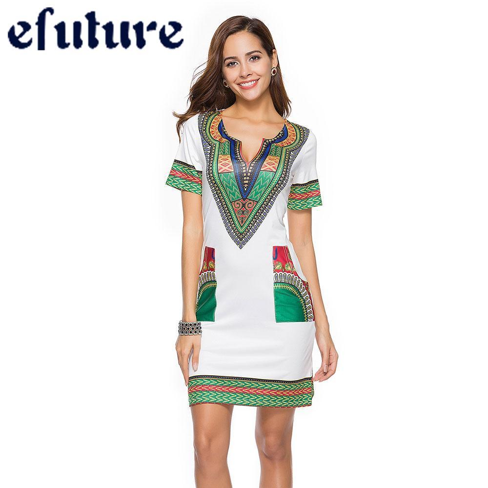 50180bc857 efuture Bohemian Dress 2018 Girl V-neck Short Sleeve Pocket Mini Dresses  Plus Size Casual Beach Women Special Smooth Summer Fashion