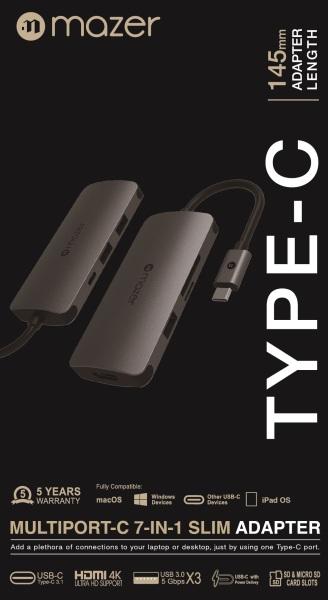 Mazer/M-UC2MULTI3002-GY/USB-C to 4K-HDMI+USB3.0X3+SD/Micro SD+USB-C PD3.0 Charging (5 year warranty)