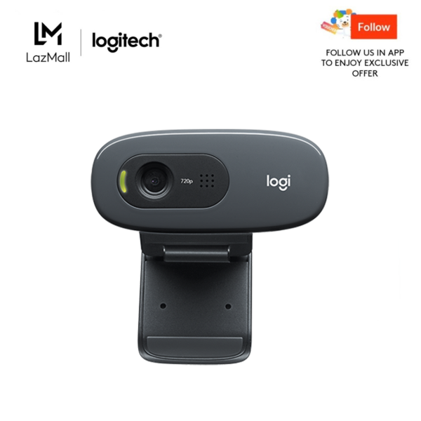 Logitech C270 HD 720P 30FPS Basic Conferencing Webcam with Built-in Long Range Microphone, Auto Lighting Correction, 55 Degree Viewing Angle