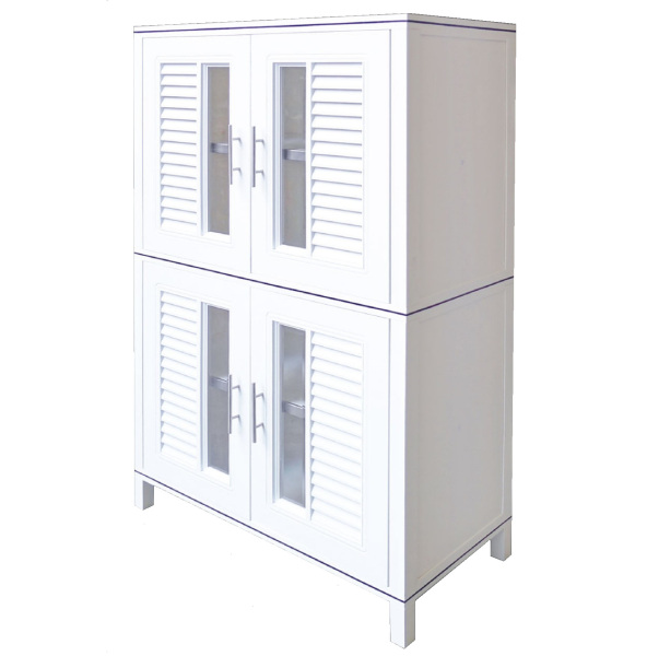 KING CUPBOARD 140 Multi-Purpose Waterproof High Quality HIP Plastic Kitchen Stand Alone Storage Cabinet with Nano Coating (W88.5 x D45 x H139.5cm)