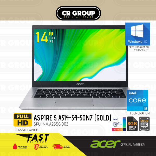 [Same Day Delivery] Acer Aspire 5 A514-54-50N7 14 Inch Full HD | Core i5-1135G7 | 8GB RAM | 512GB SSD | Intel Iris Xe Graphics