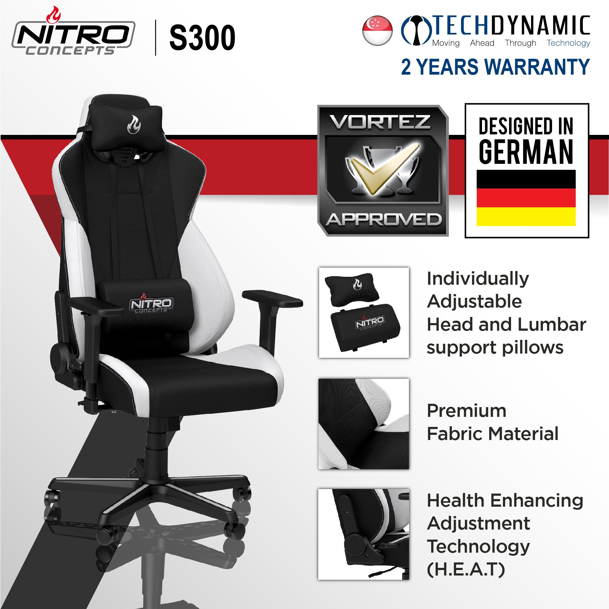 Nitro S300 GAMING CHAIR Black/Black-Red/Black-White  [Available in 3 colors]