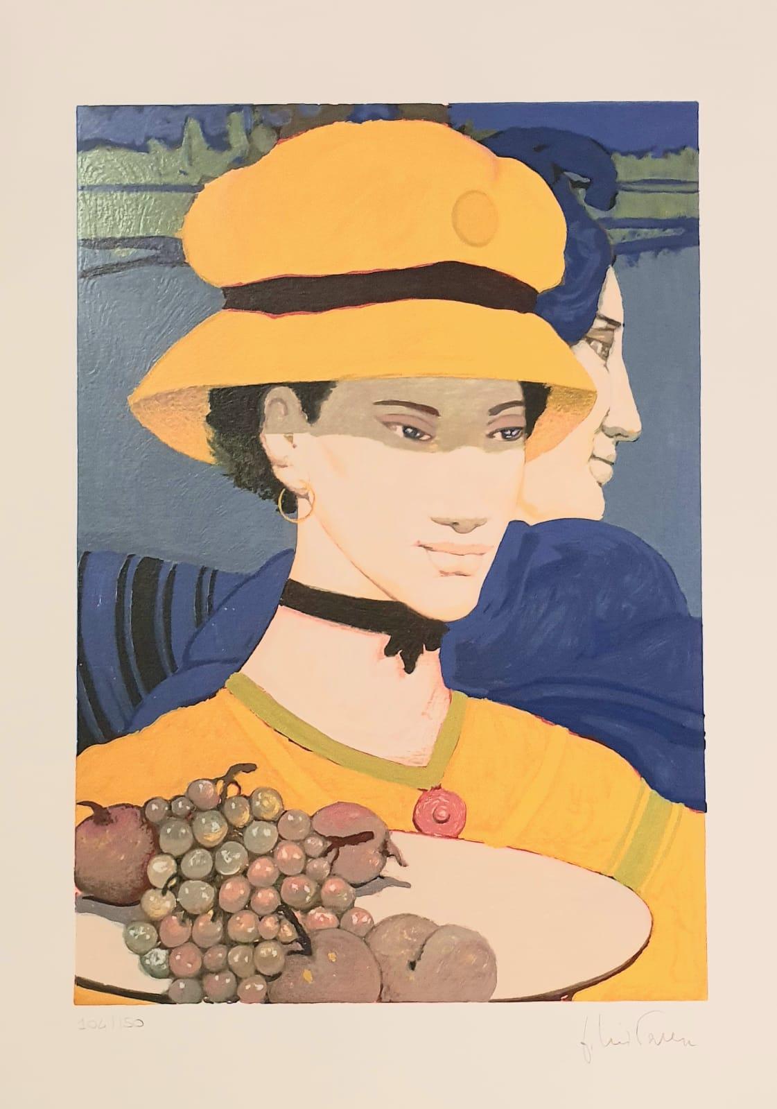 Donne su fondo blu - Women on Blue Background, Serigraphs print on paper, 70*50, 1990, Goffredo Civiterese (Italy)