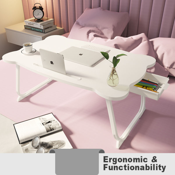 Foldable Laptop, Writing Table Desk with Cup, Mobile Holder, and Drawer