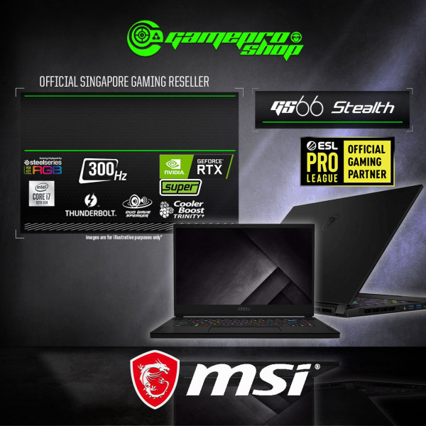 [SAME DAY DELIVERY]MSI GS66 Stealth 10SGS Gaming Laptop (I9-10980HK/32GB DDR4/2TB SSD/8GB NVIDIA RTX 2080 Super GDDR6 /15.6FHD 300Hz /W10P) - 10SGS-244SG (2Y)