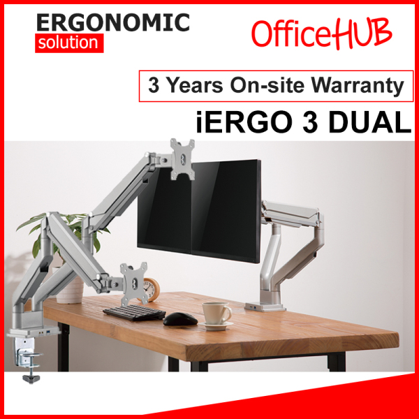 iErgo 3 Dual Monitor Arm ★ Monitor Mount ★ Monitor Stand ★ Desk stand ★ Ergonomic Stand ★ Table Mount ★ USB 3.0 ★ Fits Monitor Screens up to 34 Inch ★ Max Weight 9 KG ★ VESA Mount ★ Height Adjustable ★ Clamp Grommet Mount To Desk ★