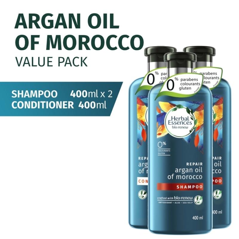 Buy [Bundle of 3] Herbal Essences Repair Shampoo Argan Oil of Morocco 400ml x 2 + Conditioner 400ml Singapore
