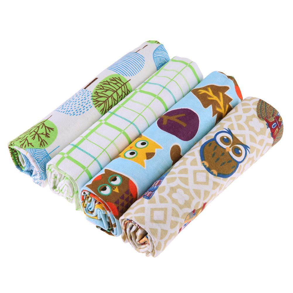 4pcs Cotton Cartoon Print Newborn Baby Blanket Bedding Infant Swaddle Towel