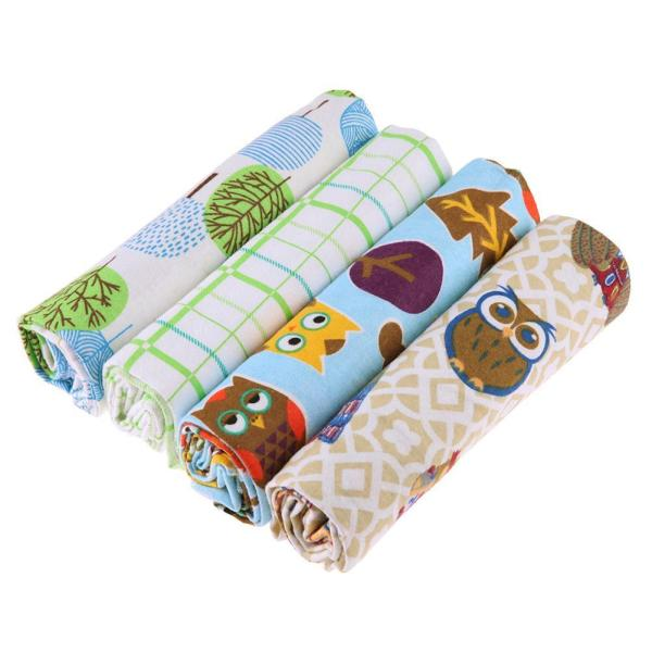 4pcs Cotton Cartoon Print Newborn Baby Blanket Bedding Infant Swaddle Towel