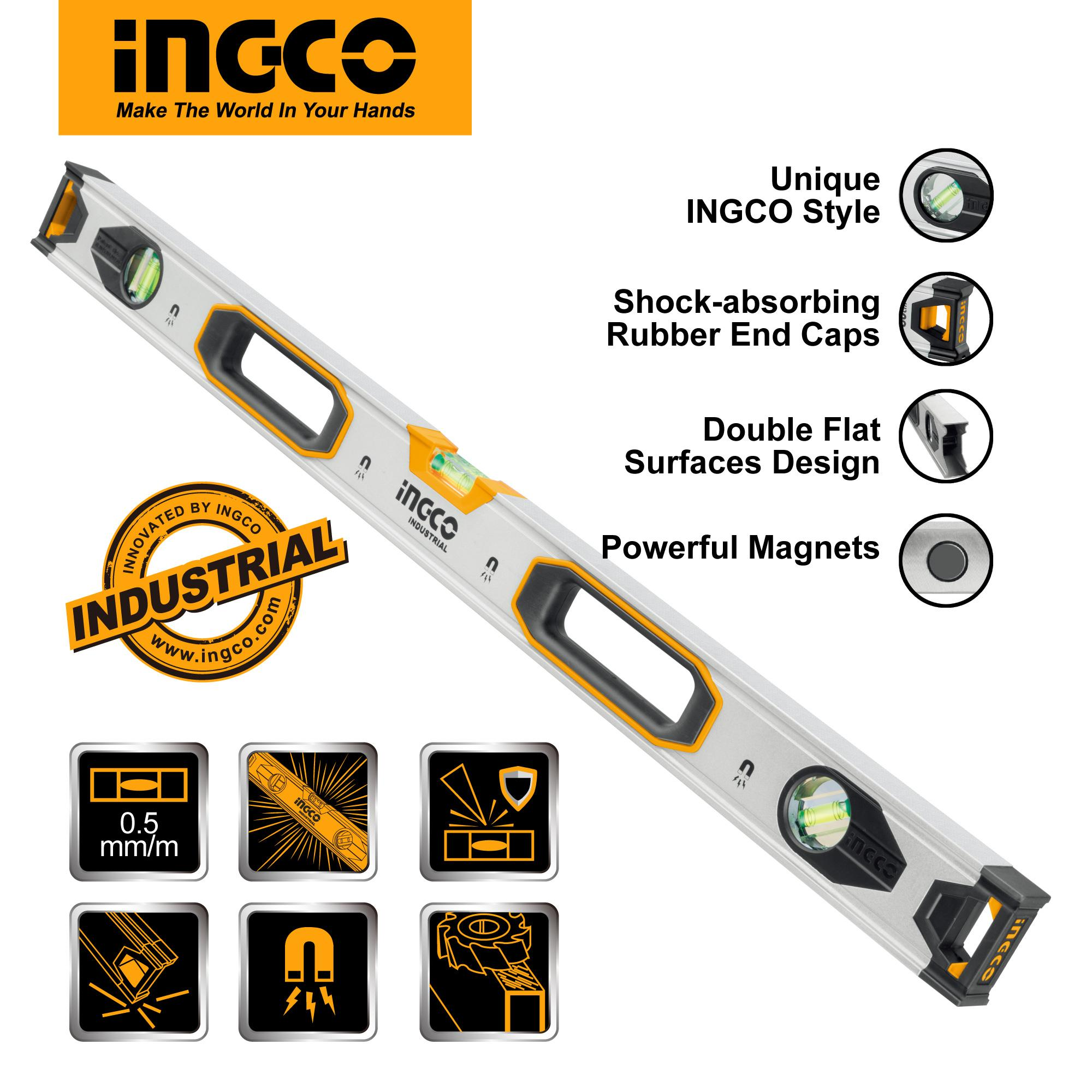 INGCO 80cm Double Side Milled Spirit Level with Powerful Magnets HSL38080M