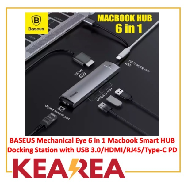 BASEUS Mechanical Eye 6 in 1 Macbook Smart HUB Docking Station with USB 3.0/HDMI/RJ45/Type-C PD Hub Adapter Converter