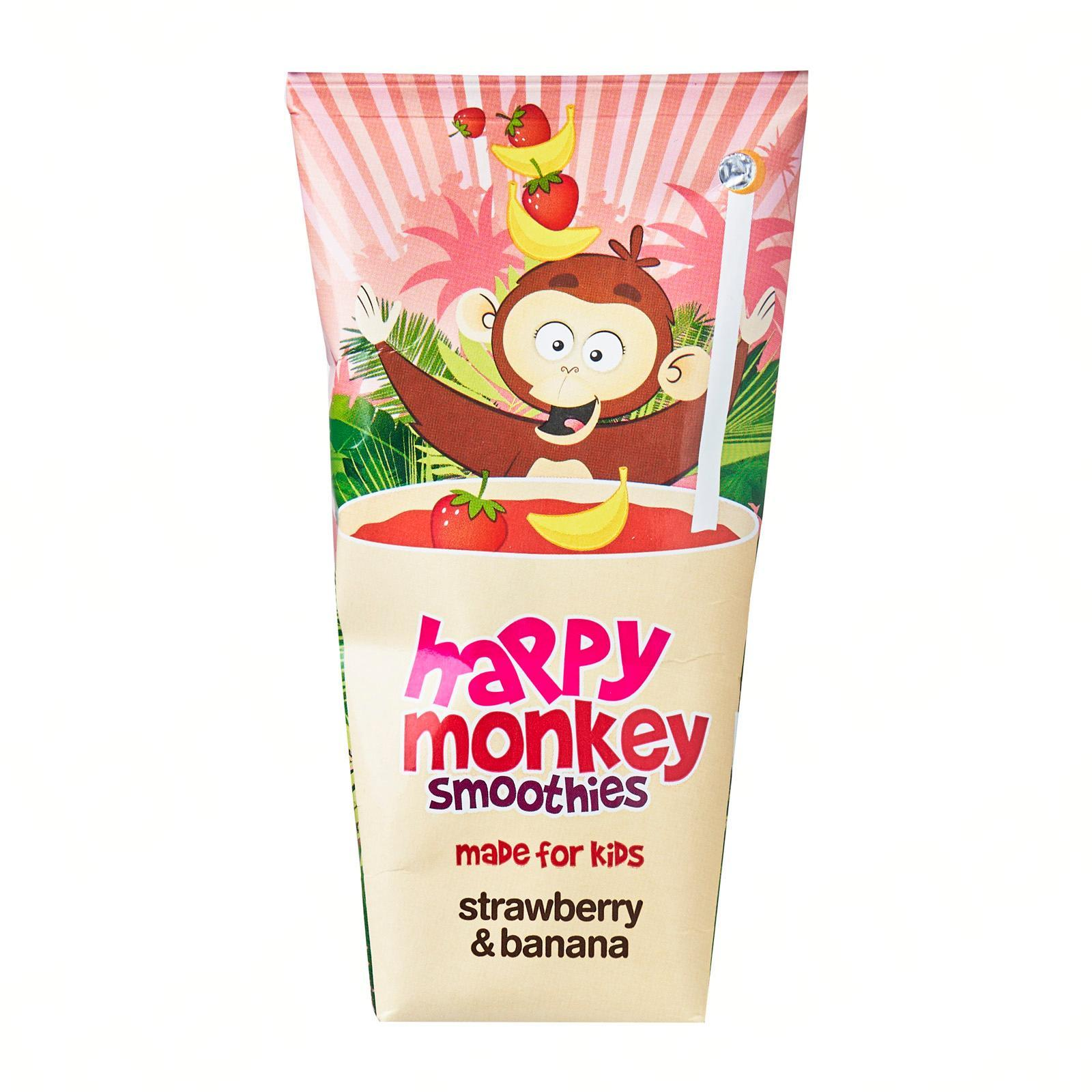 HAPPY MONKEY 100-Percent Fruit Smoothies - Made for Kids - Strawberry Banana