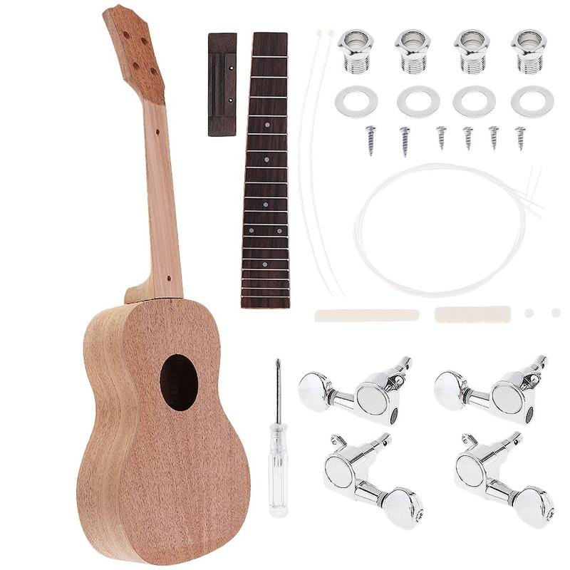 Concert Ukulele Diy Kit 23 Inch Basswood 4 Strings Hawaiian Guitar For Handwork Painting Perfect Parents-Child Campaign