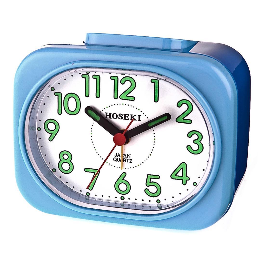 Hoseki H-9053 H-9053BL/W Blue Case White Dial Alarm Clock