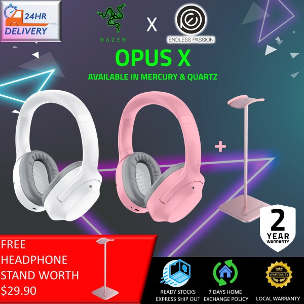 Razer Opus X Wireless Low Latency Headset: Active Noise Cancellation (ANC) - Bluetooth 5.0-60ms Low Latency - Customed-Tuned 40mm Drivers - Built-in Microphones