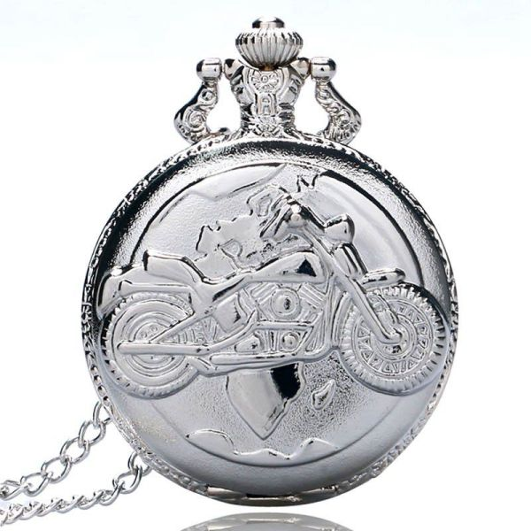 Large fine chain silver pocket watch Stylish and exquisite personality motorcycle pendant pocket watch Malaysia