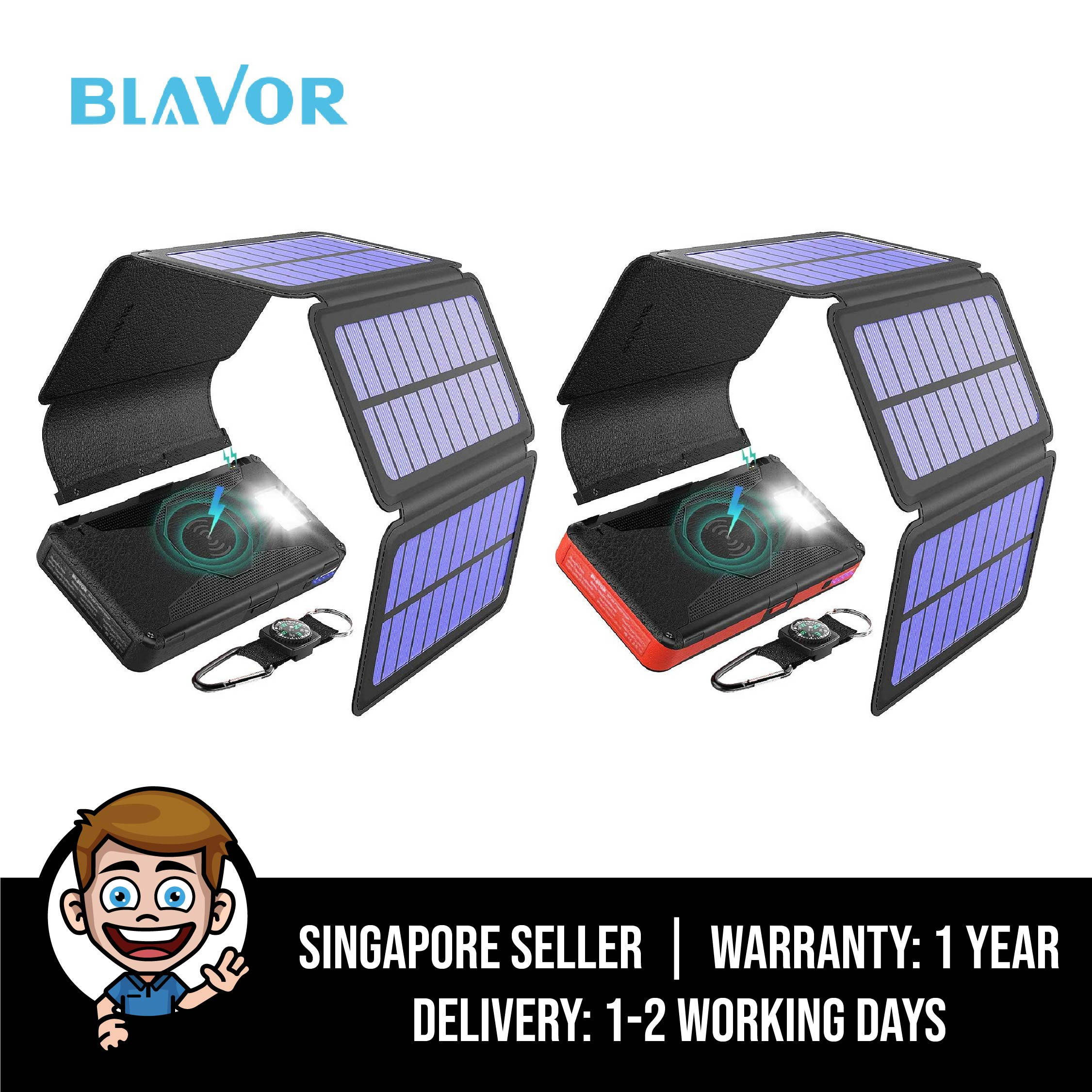 Blavor Solar Charger Five Panels Detachable, Qi Wireless Charger, 20000mah Portable Power Bank With Dual Output, Type C Input, Flashlight And Compass Kit, Emergency Backup Powerbank - Black / Red.
