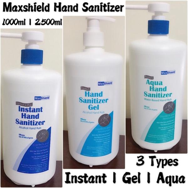 Buy MaxShield Hand Sanitizer 1000ml ➰ 2500ml ➰ Instant | Gel | Aqua ➰ 3 Types ➰ Alcohol | Non-Alcohol Singapore