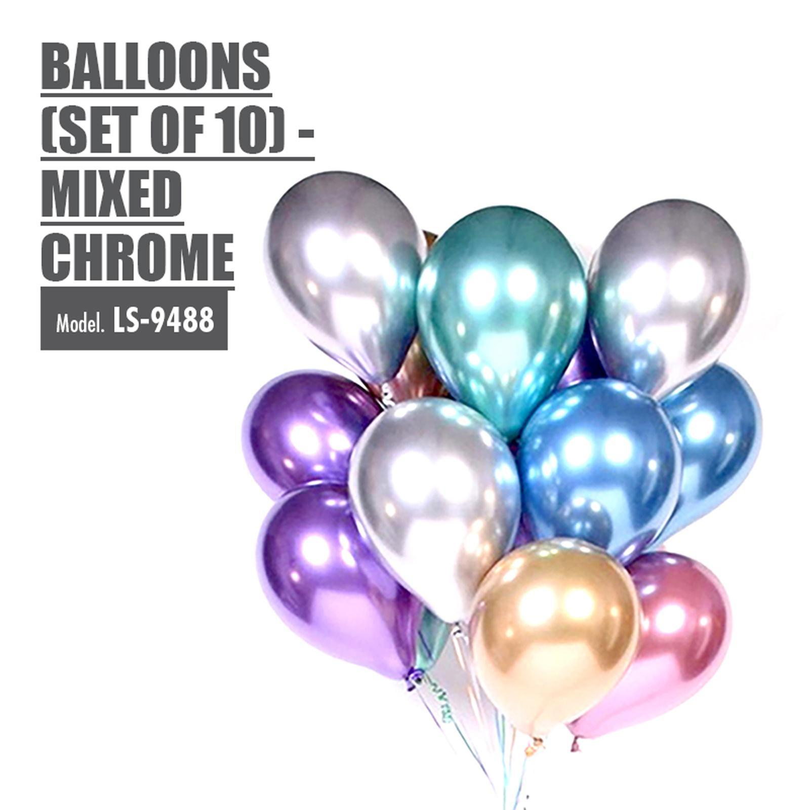 HOUZE Balloons (Set Of 10) - Mixed Chrome