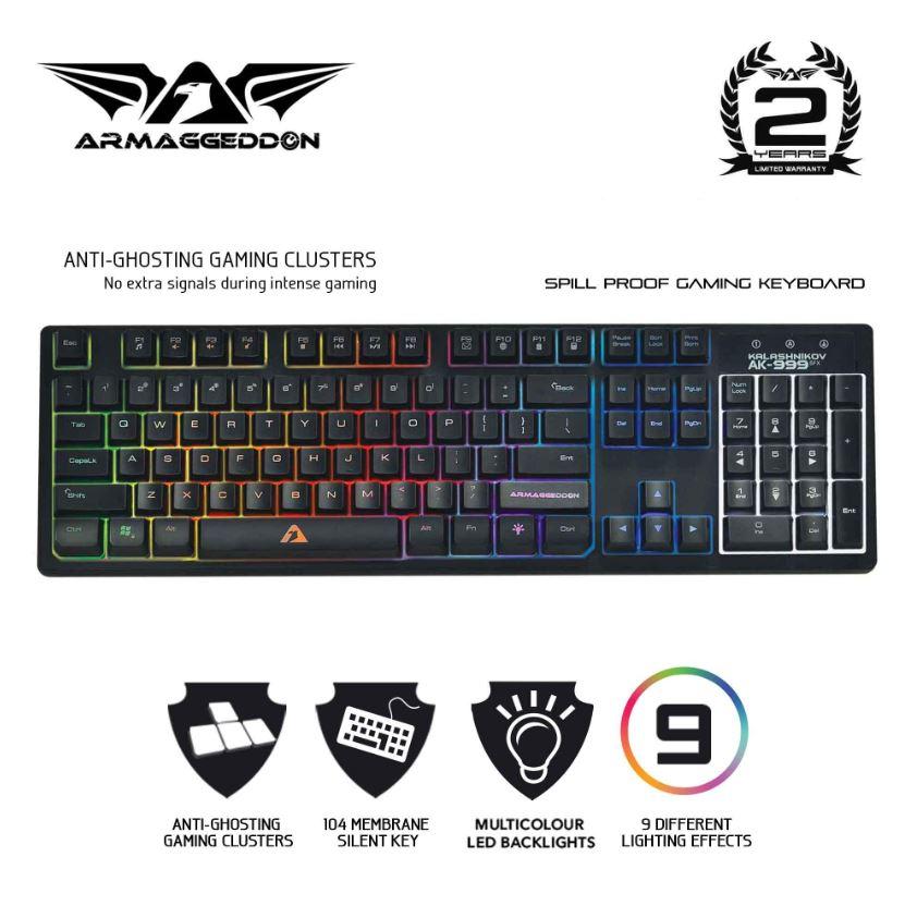 Armaggeddon Kalashnikov AK-999 SFX Anti-Ghosting And Spill Proof Membrane Gaming Keyboard - 9 Lighting Effects Singapore