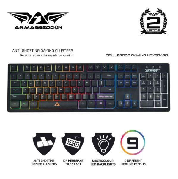 Armaggeddon Kalashnikov AK-999 SFX Anti-Ghosting And Spill Proof Membrane Gaming Keyboard - 9 Lighting Effects Singapore