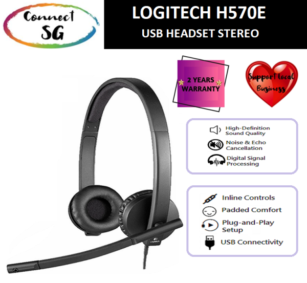 [LOCAL WARRANTY] Logitech H570e USB Stereo Headset with Noise-Cancelling Mic l Logitech Headset H570e l Logitech H570e l H570e l Logitech Headset with Microphone l Logitech Headset Noise Cancellation l Logitech Wired Headset l 2737132 Singapore